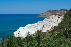 Biała faleza dzwonił Scala dei Turchi w Sicily, blisko Agrige Zdjęcie Royalty Free