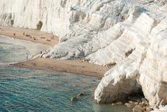 Biała faleza dzwonił Scala dei Turchi w Sicily, blisko Agrigento Zdjęcie Stock
