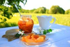 Biała filiżanka herbata i jabłczany dżem fotografia royalty free