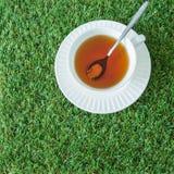 Biała filiżanka herbata z łyżką na trawach od odgórnego widoku Obrazy Royalty Free
