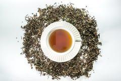 Biała filiżanka herbata z wysuszonym herbacianym liściem Zdjęcie Stock