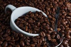 Biała filiżanka i herbaciana łyżka tonęliśmy w kawowych fasolach Obraz Royalty Free