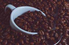 Biała filiżanka i teaspoon tonęliśmy w kawowych fasolach, stonowana fotografia Obrazy Stock