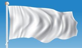 Biała Flaga w wiatrze ilustracji