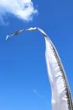 Biała flaga w wiatrze Zdjęcie Royalty Free