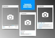 Biała fotografii rama dla ogólnospołecznego sieć obrazka z przejrzystym tłem również zwrócić corel ilustracji wektora Zdjęcia Stock