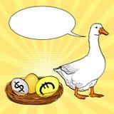 Biała gąska znosi walut jajka, dolar, euro, złoto Wystrzał sztuki tło Imitacja komiczka styl Teksta bąbel ilustracja wektor