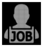 Biała Halftone bezrobotni ikona ilustracja wektor