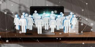 Biała i błękitna grupa ludzi lata nad desktop 3D renderingiem Fotografia Royalty Free