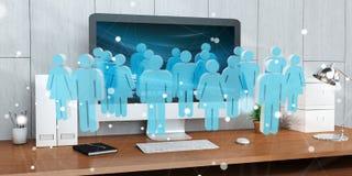 Biała i błękitna grupa ludzi lata nad desktop 3D renderingiem Zdjęcie Stock