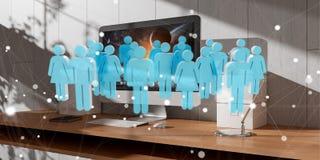 Biała i błękitna grupa ludzi lata nad desktop 3D renderingiem Obraz Stock