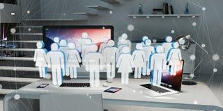 Biała i błękitna grupa ludzi lata nad desktop 3D renderingiem Zdjęcie Royalty Free