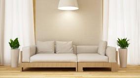 Biała i drewniana kanapa z rośliną w białym room-3D renderingu Zdjęcie Royalty Free