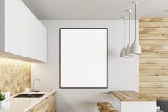 Biała i drewniana kuchnia, plakat ilustracja wektor