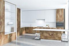 Biała i drewniana kuchnia wyspa i spiżarnia, ilustracja wektor