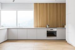 Biała i drewniana panoramiczna kuchnia ilustracja wektor