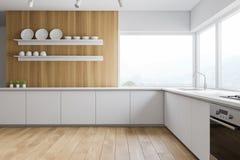 Biała i drewniana panoramiczna kuchnia z półkami ilustracji