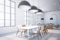 Biała jadalnia, biel i drewien krzeseł boczny widok, ilustracja wektor