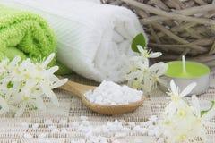 Biała kąpielowa sól na drewnianej łyżce zdjęcia royalty free