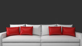 Biała kanapa z czerwonymi poduszkami na ciemnym tle Zdjęcie Stock