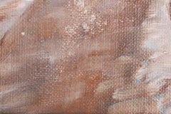 Biała kanwa gruntuje brown kolor nafcianą farbą Zdjęcia Royalty Free
