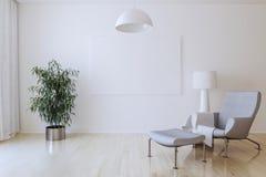 Biała kanwa na ścianie w żywym pokoju 3 d czynią ilustracji