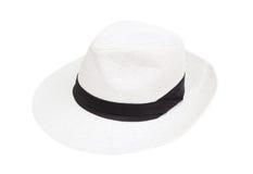 Biała kapeluszowa kobieta odizolowywająca na białym blackground Zdjęcia Stock