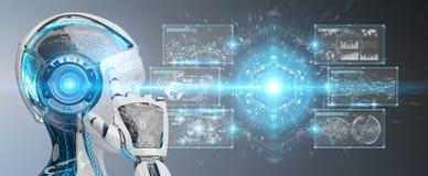 Biała kobieta cyborg używa cyfrowych datas interfejsu 3D rendering royalty ilustracja