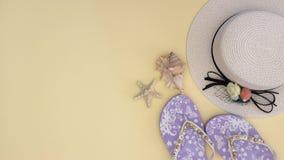 Biała kobieta kapelusz, kapcie i skorupy na żółtym tle - Zatrzymuje ruch zbiory wideo