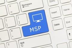 Biała konceptualna klawiatura - MSP błękita klucz obrazy royalty free