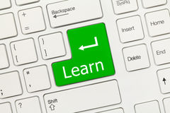 Biała konceptualna klawiatura - Uczy się (zielony klucz) Obraz Stock