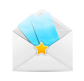 Biała Kopertowa ikona z Gwiazdową Wektorową ilustracją Zdjęcia Royalty Free