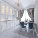 Biała kuchnia z łomotać stół w klasycznym stylu Jaskrawy wnętrze kuchnia royalty ilustracja