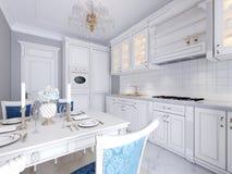 Biała kuchnia z łomotać stół w klasycznym stylu Jaskrawy wnętrze kuchnia ilustracji
