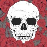Biała kwiecista czaszka z czerwonymi różami royalty ilustracja