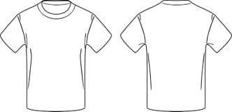 Biała męska koszulka Przodu i plecy konturowy rysunek Obraz Stock