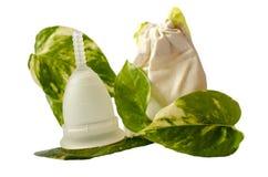 Biała menstrual filiżanka z zielenią opuszcza i mały beżowy torby isola Obraz Royalty Free