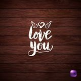 Biała miłość Ty tekst na Drewnianym Textured tle obrazy stock