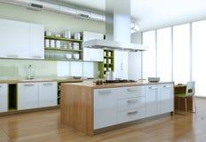 Biała nowożytna kuchnia z zielonych elementów wewnętrznym projektem ilustracja wektor