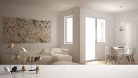 Biała półka z minimalistic ptasim ornamentem lub, ptaszyna drobiażdżek nad zamazanym współczesnym żywym pokojem z dużym wiatrem ilustracja wektor