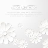 Biała papierowego kwiatu pocztówka. ilustracja wektor