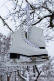 Biała para żeńskie lodowe łyżwy zdjęcia royalty free