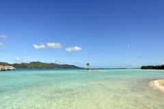 Biała piasek plaża w Polynesia Obraz Stock