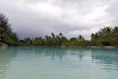 Biała piasek plaża w Polynesia Obraz Royalty Free