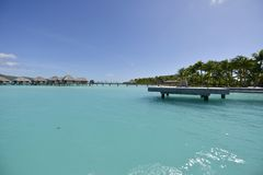 Biała piasek plaża w Polynesia Fotografia Stock