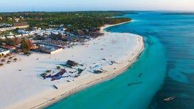 Biała piaskowata plaża Zanzibar Fotografia Stock