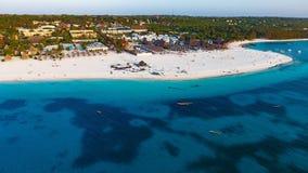 Biała piaskowata plaża Zanzibar Zdjęcia Royalty Free
