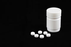 Biała pigułki medycyna Fotografia Stock