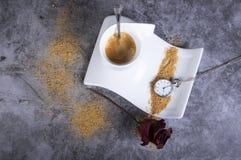 Biała porcelany filiżanka z brązu cukierem, suchym wzrastał, cukierniczki, różanego i kieszeniowego zegarek, zdjęcie royalty free