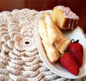 Biała powszechna dzianina dla twój śniadania Fotografia Royalty Free